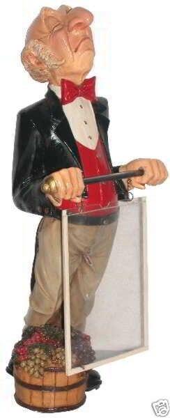 Connoisseur Statue with Menu Board - Butler Statue - Food Sign - Waiter w/ Menu