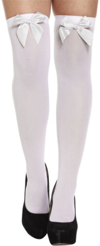 New Ladies Women Hold Ups Over Knee Stockings Socks Thigh High With Bow White