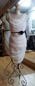 Rouched White Chiffon Dress- Sample Sale- new
