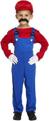 BOYS RED SUPER MARIO WORKMAN FANCY DRESS PARTY COSTUME AGE 4-12 CHILDREN  - Super Mario Kids Costume