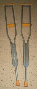 Pair of Aluminum Crutches + Foot Shoe - GREAT condition