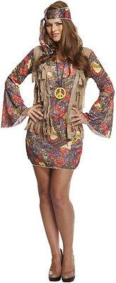 Damen Groovy Hippie Kostüm Kleid 60s Jahre 70s Jahre Party (Kostüme 60's 70's Party)