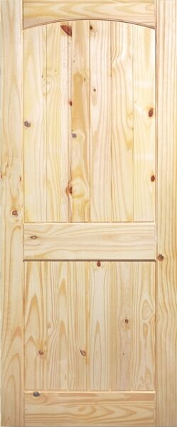 2 PANEL ARCH TOP V-GROOVE KNOTTY PINE STAIN GRADE SOLID CORE INTERIOR WOOD DOORS