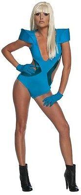 Lady Gaga Poker Face Video Swimsuit Blue Pop Rock Star Halloween Adult Costume - Lady Gaga Poker Face Halloween