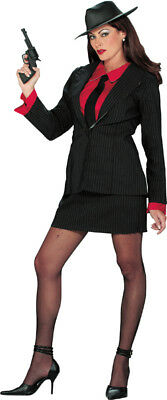 Gangster Moll Suit Mobster Pinstripe Halloween Adult Womens Costume Party - Gangster Moll Costumes