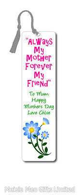 - Personalised Metal Bookmark With Flowers Mothers Day Birthday Mum Gran Gift