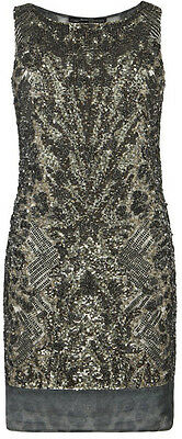 "**SALE** NEW""ALLSAINTS"" GRAY EMBELLISHED ""KHAKI VIPER"" DRESS Area ""8"" w TAGS!"