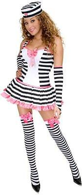 Prisoner of Love Striped Convict Fancy Dress Up Halloween Sexy Adult Costume - Prisoner Of Love Costume Halloween