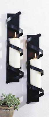 2er Set Candelero Candelabro de Pared Soporte Vela Negro Metal