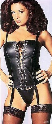 Faux Black Leather Lace Up Corset Removable Straps, Garters & G-String Size 34 ()
