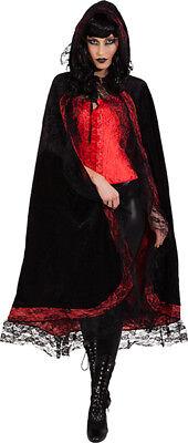 Orl - Damen Kostüm Cape schwarz-rot mit Spitze zu Halloween Vampirin