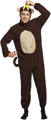 NEW MENS CHEEKY MONKEY FANCY DRESS COSTUME APE ANIMAL OUTFIT ZOO STAG  (Mens Monkey Costume)