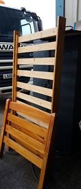 Single wooden slatted bed and mattress