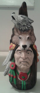 Native American Indian Man with Wolves Pottery