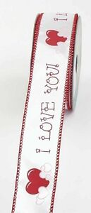 "1.5"" I Love You Ribbon - Wired - 10 yards - White/Red"