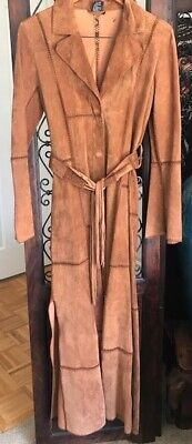 Bebe Jacket Coat - Vintage Long BEBE Suede Jacket/Coat with crochet - Size M - Great condition!