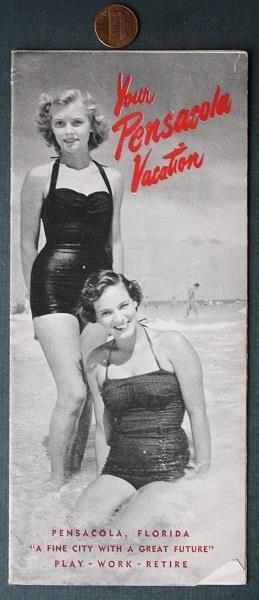 1950s Era Pensacola Beach Florida tourist brochure-Pin-Up Girls on front cover!