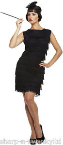 Ladies-Black-1920s-20S-Flapper-Gatsby-Fancy-Dress-Costume-Outfit-STD-Plus-Size