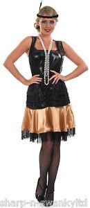 Ladies-Black-1920s-Flapper-Girl-Charleston-Fancy-Dress-Costume-Outfit-UK-8-10