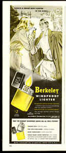 1940s half-page 2-color print ad for Berkeley Windproof Lighters