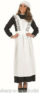 Ladies-Long-Length-Victorian-Scullery-Maid-Fancy-Dress-Costume-Outfit-Plus-Size