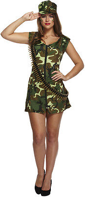 ADULT CAMO ARMY GIRL SOLDIER FANCY DRESS COSTUME SEXY LADIES WOMENS UK - Camo Girl Costume