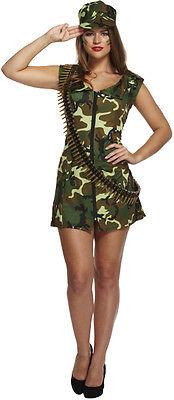 Ladies Fancy Dress Sexy Army Girl Costume Camo Military Standard Plus Size (Army Girl Kostüm Plus Size)