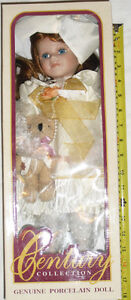 Qty 2 x Century Collection Genuine Porcelain Dolls - NEW in Box