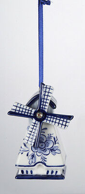 KURT ADLER HAND PAINTED PORCELAIN DELFT BLUE WINDMILL CHRISTMAS ORNAMENT STYLE 1 Delft Blue Christmas Ornament