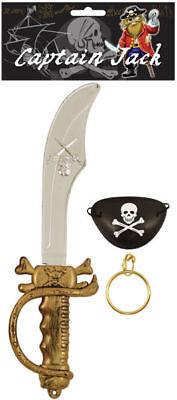 3 Teile Piraten Kostüm Set - Schwert Buschmesser - Busch Kostüme