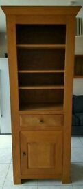 A Solid Narrow French Oak bookcase with central draw & cupboard