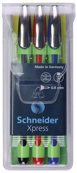 Schneider Xpress Fineliner Pens, Assorted, 3 Pack, 0.8mm, Brand New Collectibles