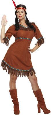 tüm Kleid Squaw Apache  Indianerin Kostüm Fasching Karneval  (Squaw Kostüm)