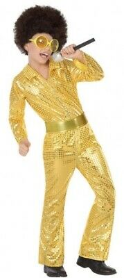 Boys Girls Gold Sequinned 1970s Disco Suit Fancy Dress Costume Outfit 3-12 years](Boys Disco Clothes)