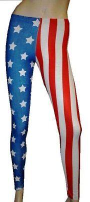 Amerikanische USA Flagge Weiß Stars Streifen Leggings Kostüm - Usa Flagge Kostüme