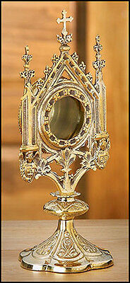 """Brass Monstrance Reliquary 5 X 11 1/2"""" - Free Shipping"""