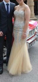 Custom made Prom Dress, crystal and beaded detail, sequin bodis