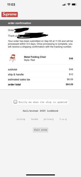 Supreme Metal Folding Chair Red Order Confirmed In Hand ready to ship out