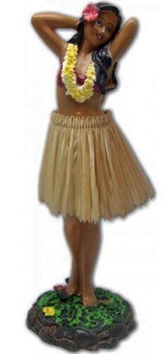 "Hula Girl 7"" Dashboard Doll Dance Pose Hawaii Beige Skirt Hawaiian Gifts Aloha N"