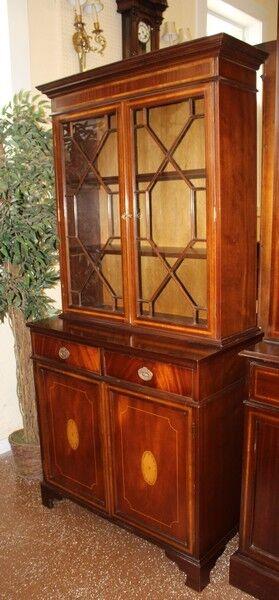 Beautiful French Polished English Georgian Inlaid Chippendale Bookcase China