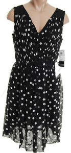 NEW - Adrianna Papell Polka Dot Lined Dress - 8