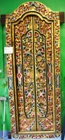 Balinese Decorated Carved Wood Door with Frame