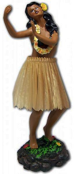 """Hawaiian Dashboard Hula Girl 7"""" Tall Doll Dancing Pose Aloha Hawaii island NIB"""