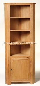 New-Solid-Oak-Tall-High-Corner-Display-Unit-Cupboard-Cabinet-With-door-shelves