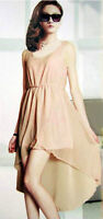 Lovely Ladies Blush Colour Hi-Low Lined Chiffon Dress - New