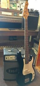 Earthfire Electric Bass Guitar | Black and White | and Indie 25 watt amp! Excellent Condition!