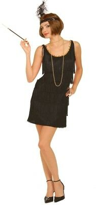 Roaring 20s Flapper Dress Deluxe Womens Black Fringed Halloween Costume 1920s XL - Roaring Twenties Halloween Costumes