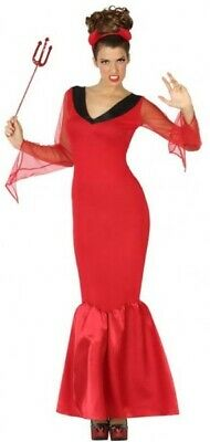 Damen Lang Rot Teufel Dämon Halloween Kostüm Kleid Outfit 8-22 - Übergröße Damen Teufel Kostüm