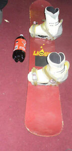 liquid, 58 men's professional snowboard with boot bindings.