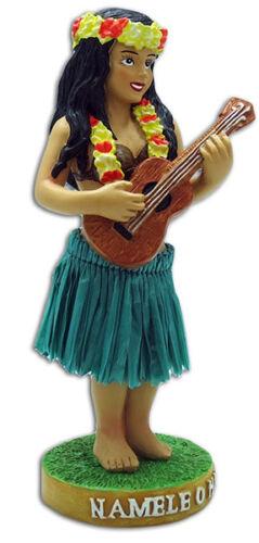 Dashboard Hula Girl Ukulele Player Mini Doll Hawaii Aloha Islands Green Hawaiian